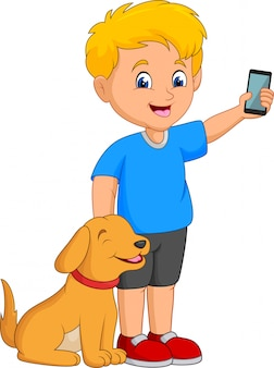 Cartoon little boy holding a mobile phone with his pet dog