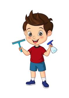 スプレーとスキージを保持している漫画の小さな男の子