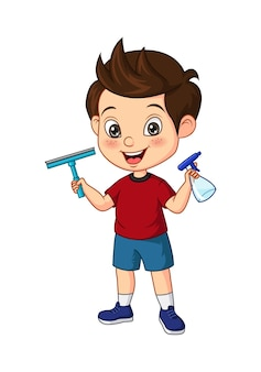 Cartoon little boy holding spray and squeegee