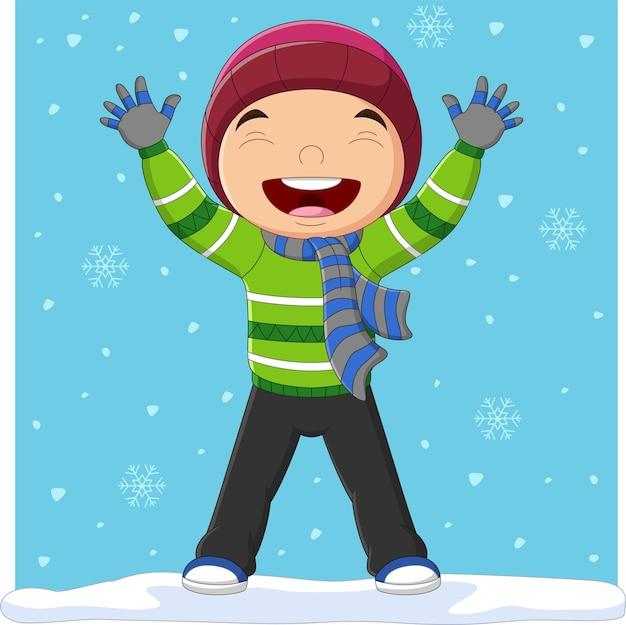 冬の服を着た漫画の小さな男の子