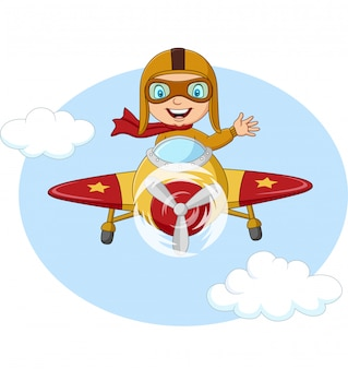 Cartoon little boy operating a plane