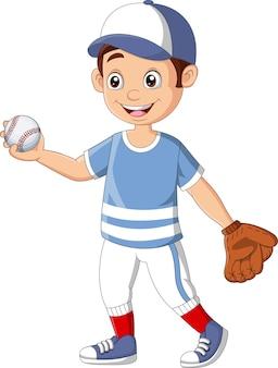 Мультяшный маленький мальчик играет в бейсбол