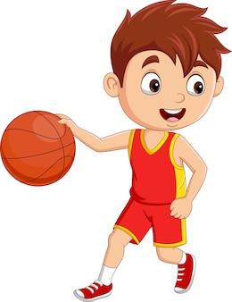 Cartoon little boy playing basketball