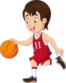 농구를 하는 만화 어린 소년