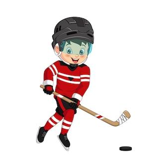 Мультяшный маленький мальчик играет в хоккей