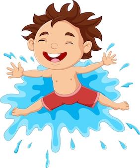 물 위에서 노는 만화 어린 소년