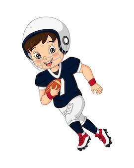Мультяшный маленький мальчик играет в регби
