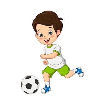 サッカーをしている漫画の小さな男の子