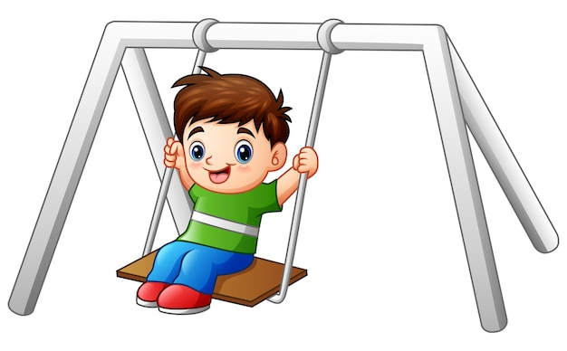 Cartoon little boy playing swing on white background
