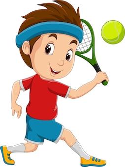 테니스를 치는 만화 어린 소년
