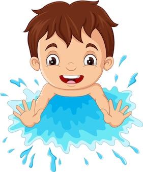 Cartoon little boy playing a water