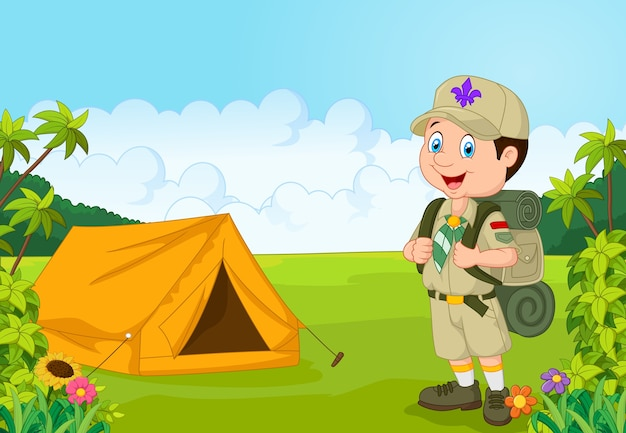 Cartoon little boy scout with tent