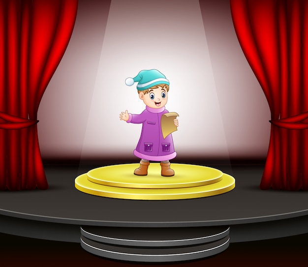 Cartoon of little boy singing on the stage