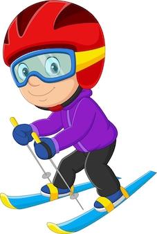 Мультяшный маленький мальчик на горных лыжах