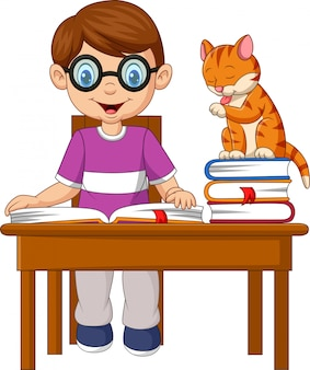 Cartoon little boy studying with a cat
