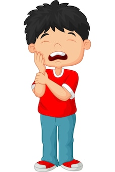 Cartoon little boy toothache
