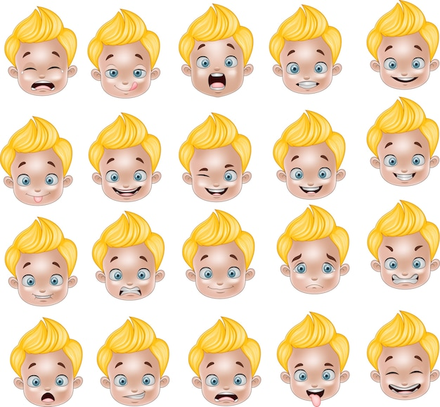 Cartoon little boy various face expressions