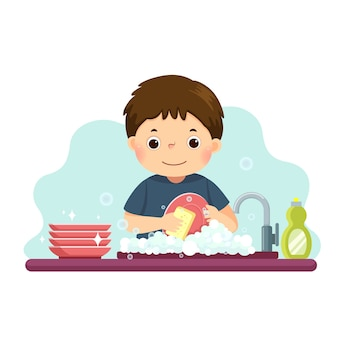 Cartoon of a little boy washing the dishes in kitchen. kids doing housework chores at home concept.