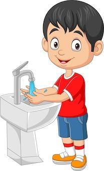 Мультяшный маленький мальчик, мыть руки