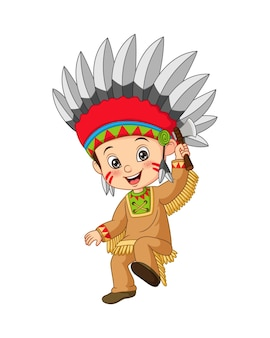 도끼를 들고 아메리칸 인디언 의상을 입고 만화 어린 소년