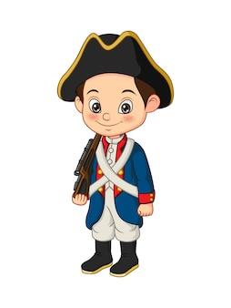 アメリカ独立戦争の兵士の衣装を着た漫画の小さな男の子