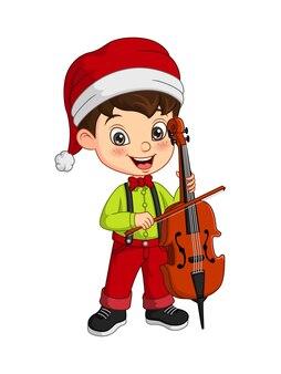 Cartoon little boy wearing christmas costume playing cello