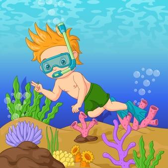Мультяшный маленький мальчик в маске для дайвинга плавает под водой Premium векторы