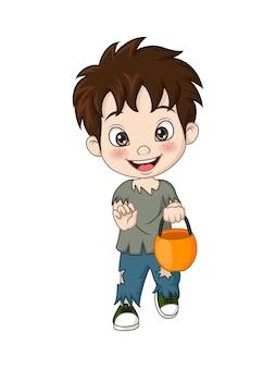 Cartoon little boy wearing zombie costume for celebrating halloween