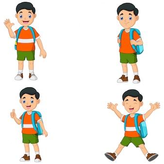 Cartoon little boys with backpack