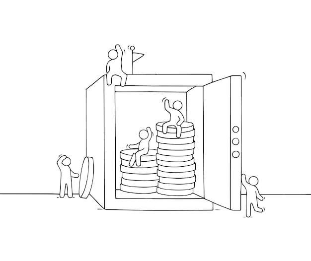 안전을 가진 만화 작은 사업 사람들. 돈 보호에 대한 노동자의 귀여운 미니어처 장면을 낙서. 비즈니스 및 금융 디자인을 위한 손으로 그린 벡터 일러스트 레이 션.