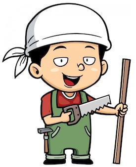Cartoon little Carpenter