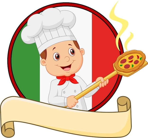 Cartoon little chef boy holding the tool
