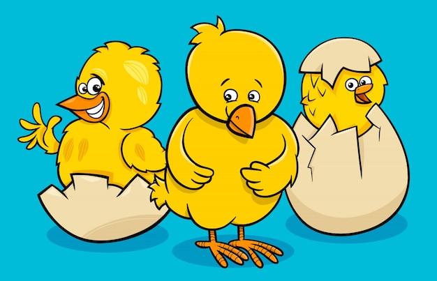 계란에서 부화 작은 치킨 만화