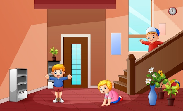 Мультяшные маленькие дети играют дома