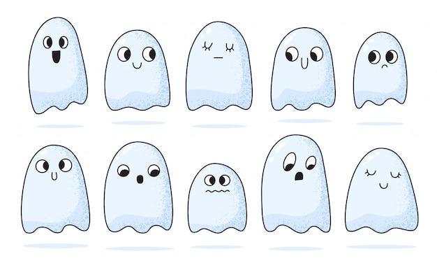Cartoon little cute ghosts collection. halloween scary spooky ghostly monsters.