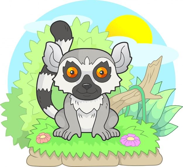 Cartoon little cute lemur went for a walk, funny illustration