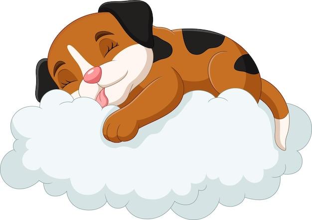 Мультяшная маленькая собачка спит на облаках