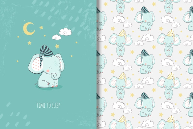 Cartoon little elephant card and seamless pattern
