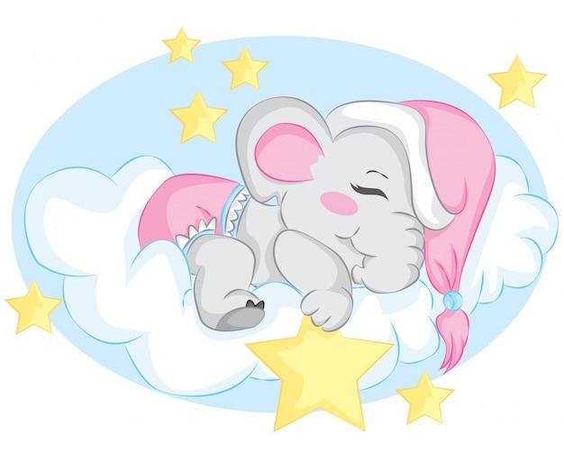 Cartoon little elephant sleeping on the cloud with star