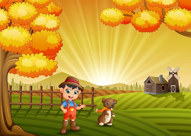 Cartoon little farmer with his dog in the farm background