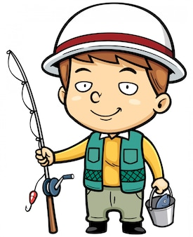Cartoon little fisherman