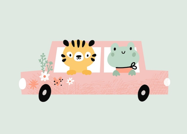 Cartoon little frog tiger on a car cute baby animals driving a automobile