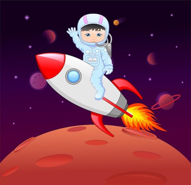Мультфильм маленькая девочка в костюме космонавта на ракете