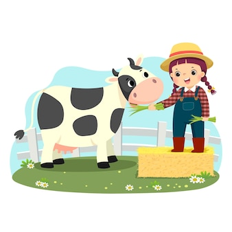 Cartoon of little girl on bale of hay feeding her cow with green grass