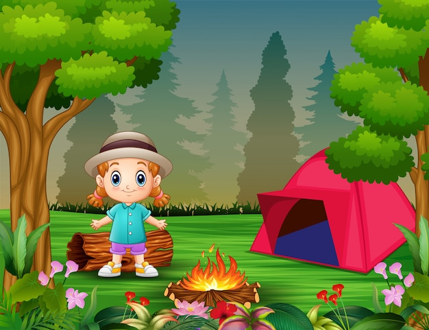 Cartoon a little girl camping in a forest