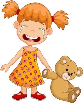 Cartoon little girl crying isolated on white background