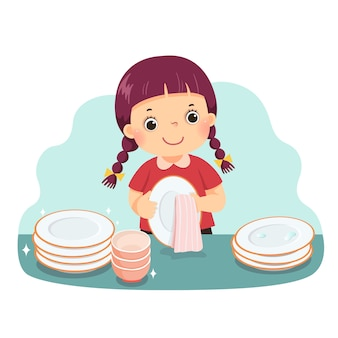 Cartoon of a little girl drying the dishes at kitchen counter. kids doing housework chores at home concept.