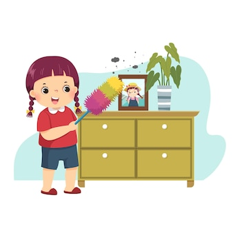 Cartoon of a little girl dusting the cabinet