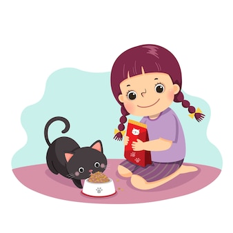 Cartoon of a little girl feeding her cat at home. kids doing housework chores at home concept.