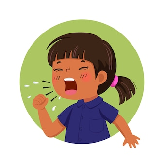 Cartoon little girl feeling unwell and coughing